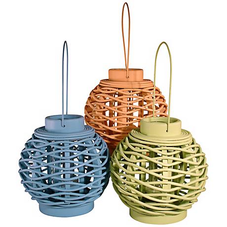 Judith Edwards Designs Set of 3 Colored Candle Lanterns