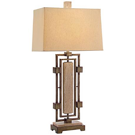 John Richard Stone and Bronze Table Lamp