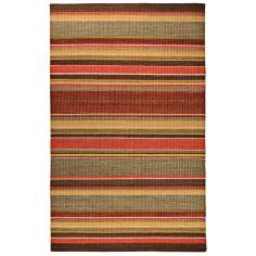 Classic Home Cut Pile Stripe Sunset Area Rug