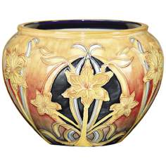 Dale Tiffany Pasque Flower Hand-Painted Porcelain Pot