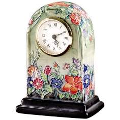 Dale Tiffany Flower Garden Hand-Painted Porcelain Clock
