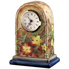 Dale Tiffany Springtime Hand-Painted Porcelain Clock