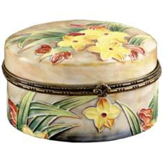 Dale Tiffany Springtime Hand-Painted Porcelain Jewelry Box