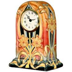 Dale Tiffany Pasque Flower Hand-Painted Porcelain Clock