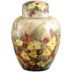 Dale Tiffany Springtime Hand-Painted Porcelain Jar