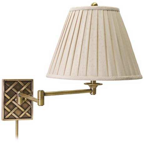 House of Troy Deco Basket Brass Swing Arm Wall Lamp