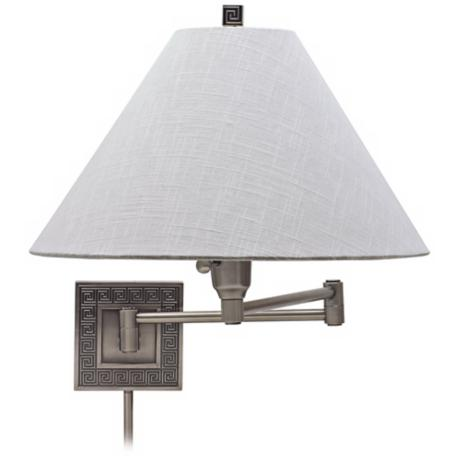 House of Troy Greek Key Silver Swing Arm Wall Lamp