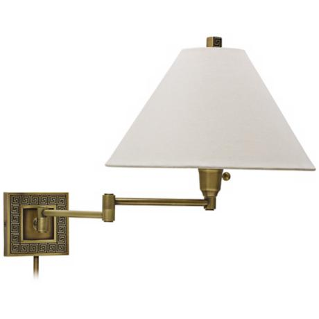 House of Troy Greek Key Antique Brass Swing Arm Wall Lamp