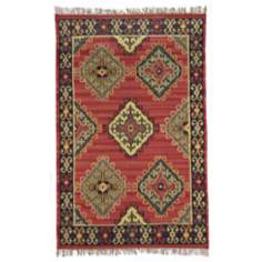 Classic Home Sara Kilim Red Wool Area Rug