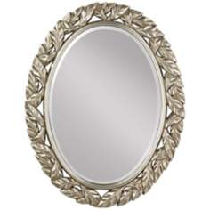 "Murray Feiss Leaves Oval 36 1/4"" High Silver Wall Mirror"