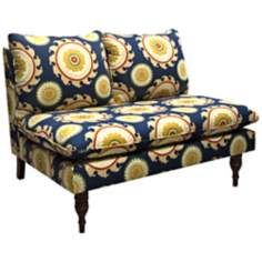 Tangine Blue Ponderosa Armless Chaise