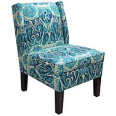 Alessandra Teal Wingback Accent Chair