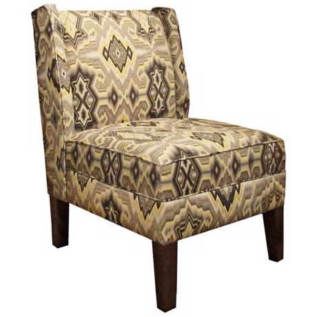 Pebble Diamond Maze Wingback Accent Chair