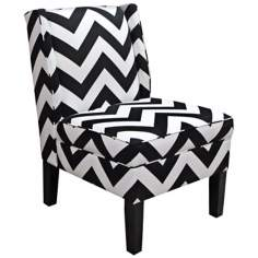 Chevron Black and White Zig Zag Wingback Accent Chair