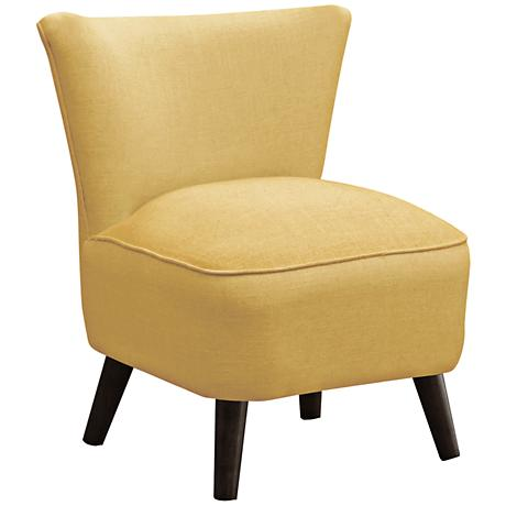 Annabelle Mid-Century Modern French Yellow Linen Chair