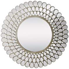 "Kichler Teardrop Silver and Glass 35"" Framed Wall Mirror"