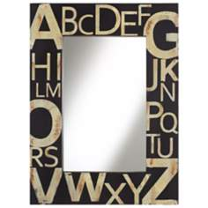 "Black and Cream Typography 36"" High Wall Mirror"