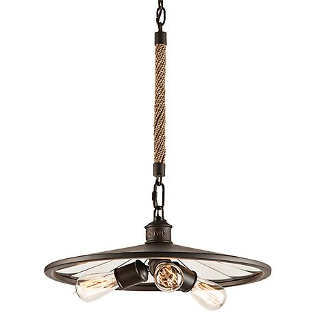 "Brooklyn 18"" Wide Iron Pendant Chandelier with Rope Stem"