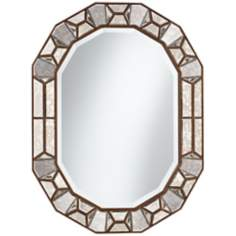 "Bronze Cut Corner 35 1/2"" High Glass Oval Wall Mirror"