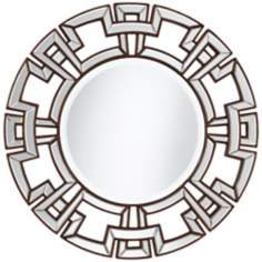 "Greek Key 34 1/2"" Wide Bronze Round Wall Mirror"