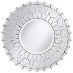 "Venetian Scalloped Edge 31 1/2"" Wide Round Wall Mirror"