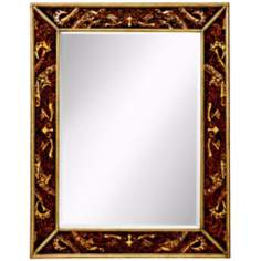 "Kichler Crimson Leaf 46"" High Hand-Painted Wall Mirror"