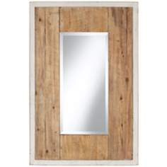 "Distressed White and Natural Wood 36"" High Wall Mirror"
