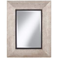 "Hammered Silver Metal 35 1/2"" High Rectangular Wall Mirror"