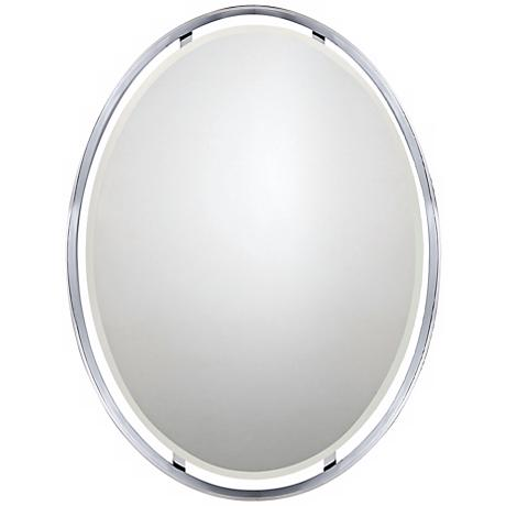 "Quoizel Uptown Ritz 34"" High Oval Wall Mirror"