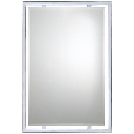 "Quoizel Norton Chrome 32"" High Rectangular Wall Mirror"