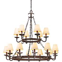 "Lyon Burnt Sienna 18-Light 48"" Hand-Horged Iron Chandelier"