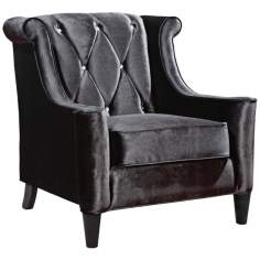 Barrister Crystal Black Velvet Club Chair