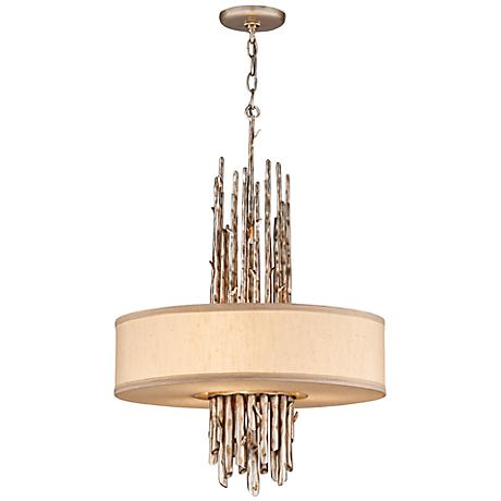 "Adirondack Graphite and Silver Leaf 20"" Wide Chandelier"