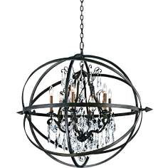"Byron 33 1/2"" Hand-Worked Bronze And Crystal Chandelier"