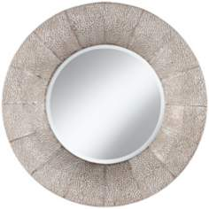 "Pounded Metal 31 1/2"" High Round Wall Mirror"