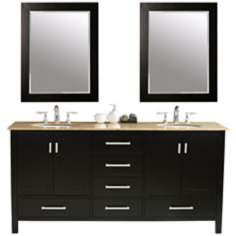 "Malibu 72"" Double Sink Travertine Vanity"