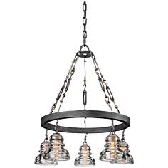 "Menlo Park 27 3/4"" High Iron and Brass Chandelier"