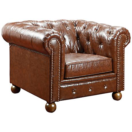 Winston1060 Mocha Bonded Leather Vintage Chair