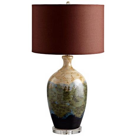 Albuquerque Beige and Aqua Ceramic Table Lamp