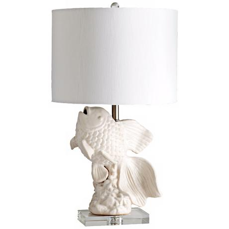 Seaside Jumping Fish White and Cream Table Lamp