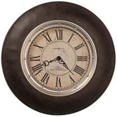 "Howard Miller 32"" Allen Park Leather and Brass Wall Clock"