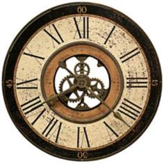 "Howard Miller Brass Works 32"" Wide Open Center Wall Clock"