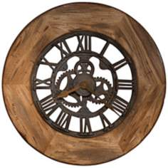 "Howard Miller Georgian 33"" Wide Wood Wall Clock"