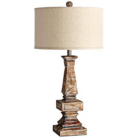 Tashi Aged White Wood Table Lamp