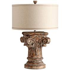 Syna Scroll and Leaf Wood Table Lamp