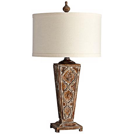 Nadja Aged Finish Wood Table Lamp