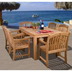 Oslo Collection 7-Piece Teak Wood Dining Set