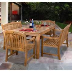 Amazonia 5-Piece Teak Geneve Outdoor Dining Set