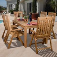 Amazonia 7-Piece Teak Bucarest Outdoor Dining Set