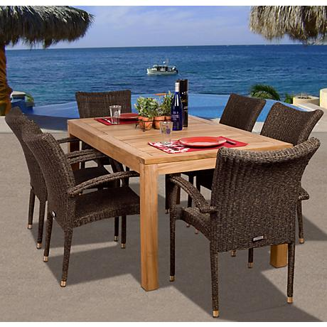 Amazonia 7-Piece Teak/Wicker Brussels Outdoor Dining Set